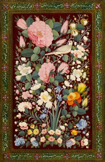 Binding decorated with flowers and birds, Iran (ca 1780–1820), papier-mâché, painted, and lacquered decoration, Musée du Louvre (© Musée du Louvre, dist. RMN-GP / Hughes Dubois)