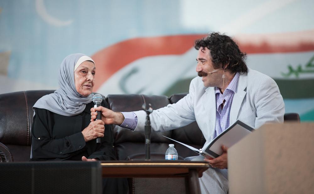 Michael Rakowitz interviews Hayfaa Ibrahem Abdulqader at the July 30 live performance for Radio Silence