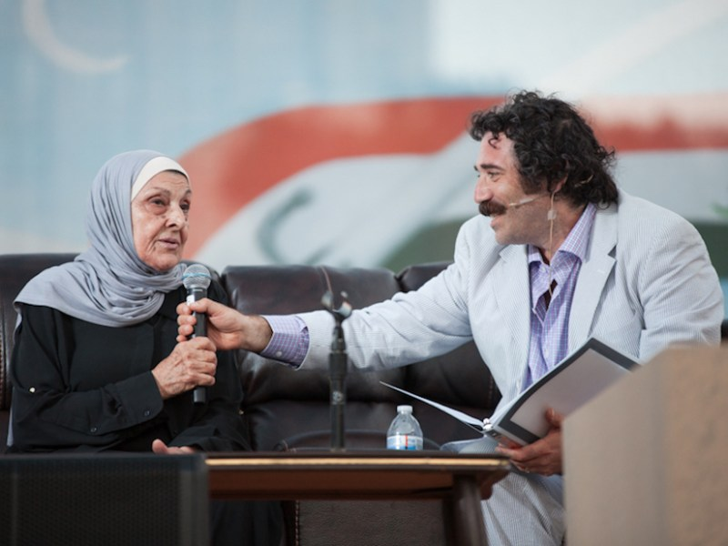 Michael Rakowitz interviews Hayfaa Ibrahem Abdulqader at the July 30 live performance for Radio Silence