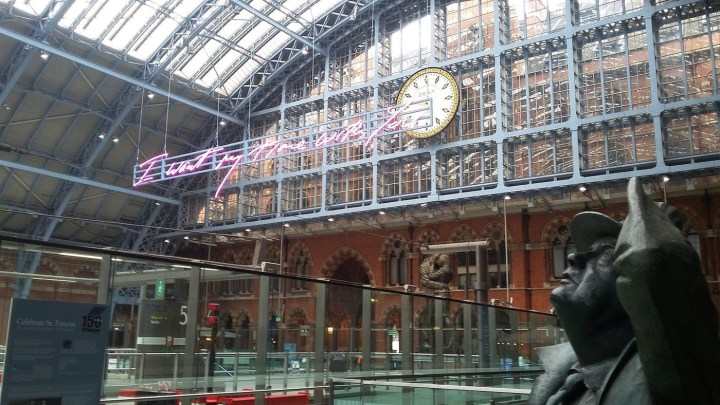 """Tracey Emin, """"I Want My Time With You"""" (2018), in St. Pancras station in London (photo by Luke McKernan, via Flickr)"""