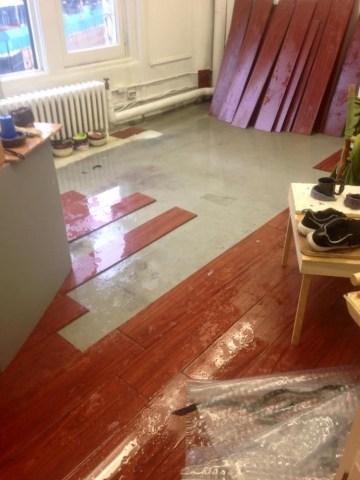 Water damage to Ilana Harris-Babou's studio in Prentis Hall during her time in the Columbia MFA program (photo courtesy Ilana Harris-Babou)