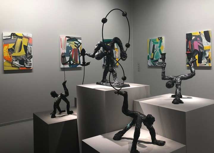Sculptures by Andrew Lord and paintings by Amy Sillman in the Gladstone booth at TEFAF New York