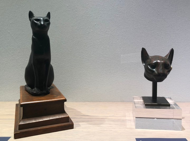 The divine feminine in cat form in the Electrum/Phoenix Ancient Art booth at TEFAF New York