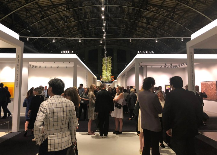 Crowds at the entrance to TEFAF New (all photos by the author for Hyperallergic)