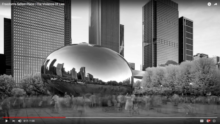 """Anish Kapoor's """"Cloud Gate"""" appears in a National Rifle Association commercial (screenshot by the author via YouTube)"""