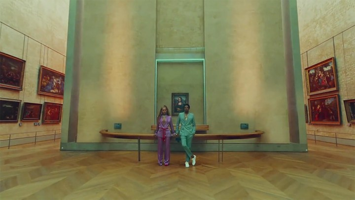 "Beyoncé and Jay-Z in front of Leonardo da Vinci's Mona Lisa in the video for ""Apeshit"""