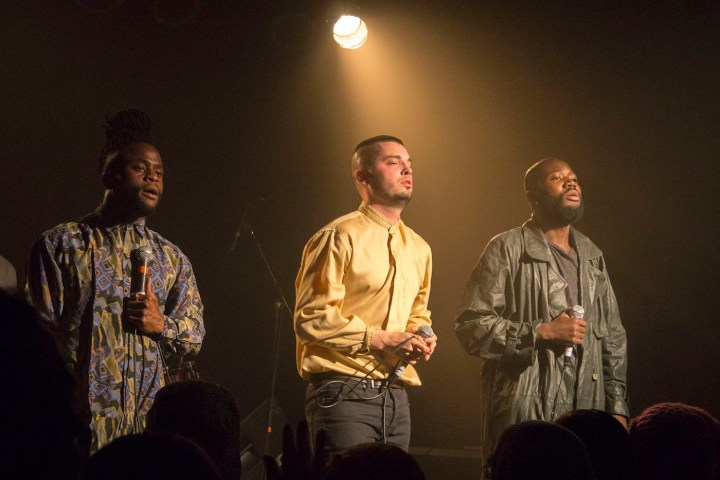 Young Fathers performing in 2014 (photo by Ash link, via Wikimedia Commons)