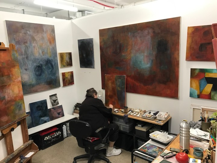 Artist Heidi Yockey in her studio