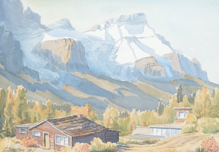 "Margaret Shelton, ""Mount Rundle from Harvey Heights, Canmore"" (1978), watercolor on paper, from the University of Lethbridge Art Collection; gift of Dr. Margaret (Marmie) Perkins Hess, 2017 (courtesy University of Lethbridge Art Collection)"