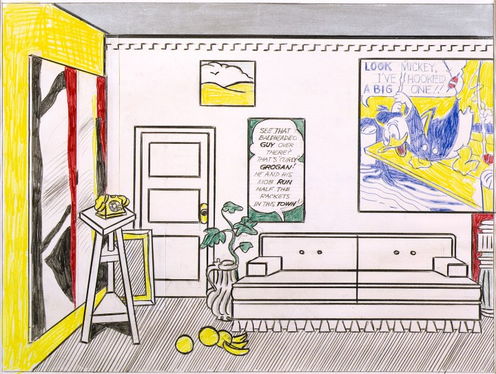 "Roy Lichtenstein, ""Artist's Studio 'Look Mickey' (Study)"" (1973), graphite pencil, colored pencil, Magna, cut paper drawn on with graphite pencil, and colored pencil on paper, 19 3/4 x 23 3/4 in (© Estate of Roy Lichtenstein)"