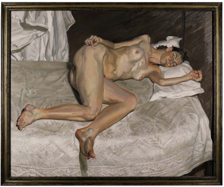 "Lucian Freud, ""Portrait on a White Cover"" (2002–03), oil on canvas, 45 7/8 x 56 1/4 in, sold for £22,464,300 ($29,830,344) at Sotheby's (image courtesy Sotheby's)"