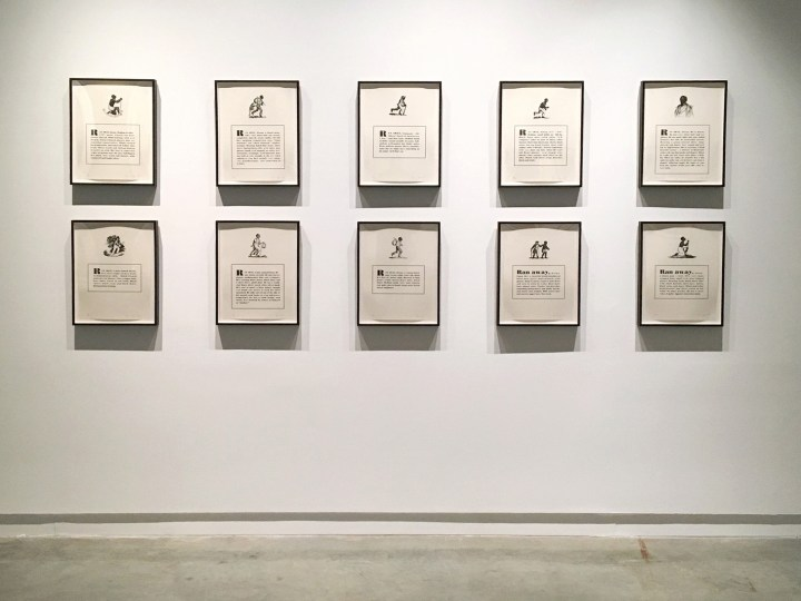 "Glenn Ligon, ""Runaways"" (1993), Lithographs, edition. Ten panels, Bronx Museum Permanent Collection"