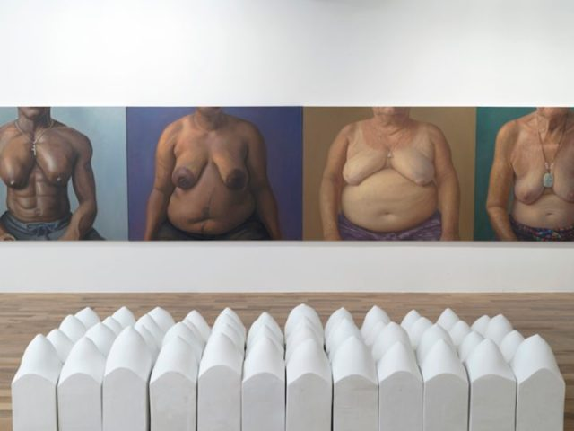 """Jill Downen, """"Breast Blocks"""" (2009), plaster, polystyrene, and latex, 48 blocks, each: 19 x 8 1/2 x 8 1/2 in. (image courtesy of the artist and Bruno David Gallery)"""