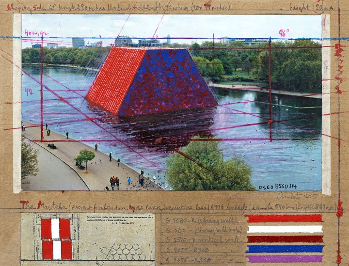 """Christo, """"The Mastaba"""" (2017), collage, pencil, wax crayon, enamel paint, photo by Wolfgang Volz, technical data and tape on brown board 21.5 x 28 cm, private collection, Switzerland, (photo by André Grossmann) © 2017 Christo"""