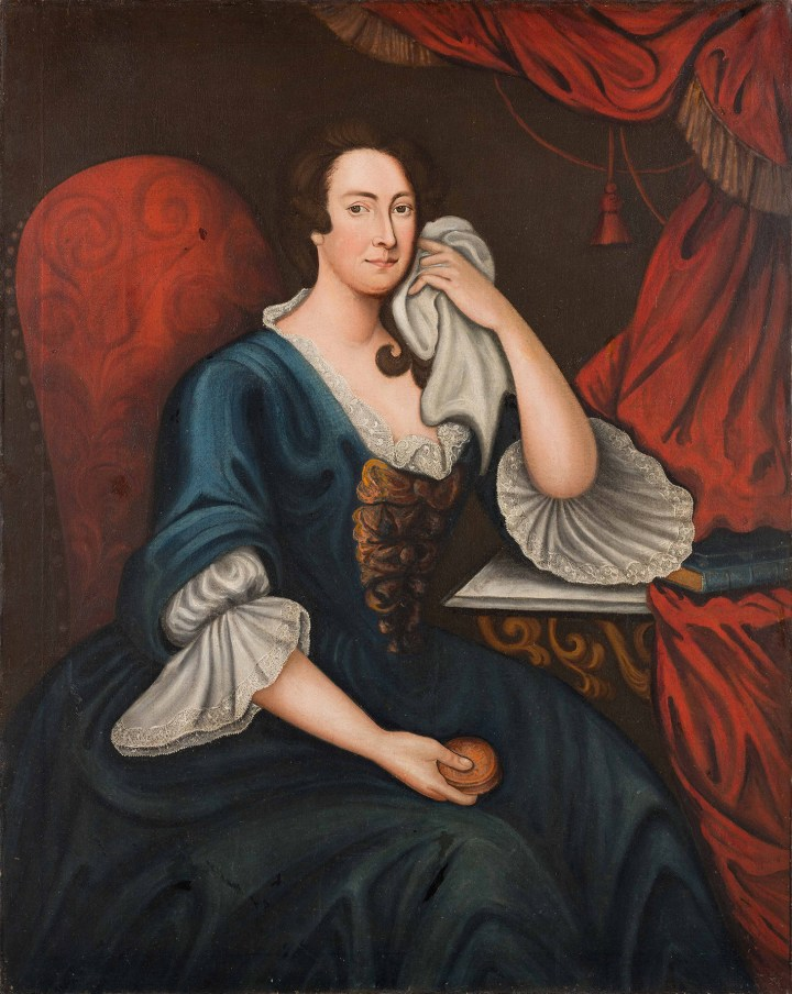 "William Dering, ""Joyce Armistead Booth (Mrs. Mordecai Booth)"" (ca. 1745), oil on canvas, Williamsburg, Virginia, gift of Julia Miles Brock, Edward Taliaferro Milesm and Georginana Serpell Miles in memory of their mother, Alice Taliaferro Miles"