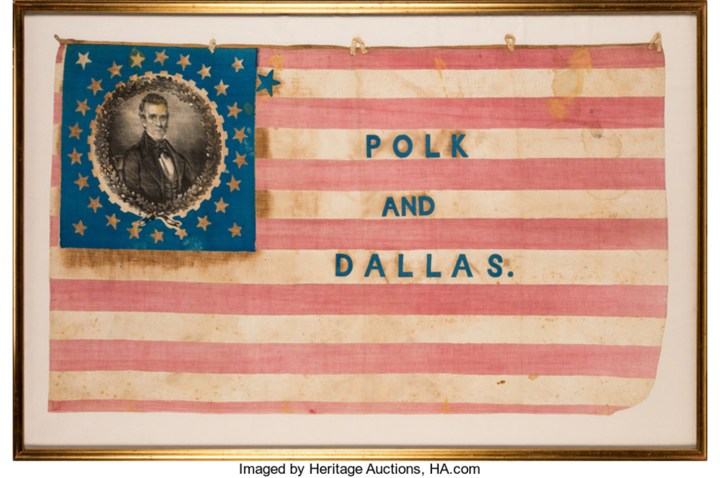 Polk & Dallas: Highly Significant Large 1844 Campaign Flag Banner (image courtesy of Heritage Auctions)