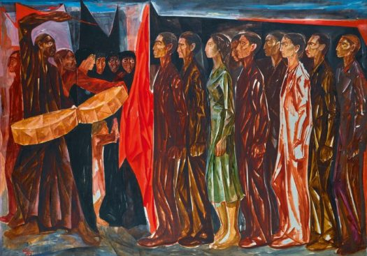"""Mahmoud Sabri, """"Iraqi Jnazet (Funeral)"""" (1961), oil on canvas mounted on board, 39 3/8 x 55 1/8 inches (image courtesy Sotheby's)"""