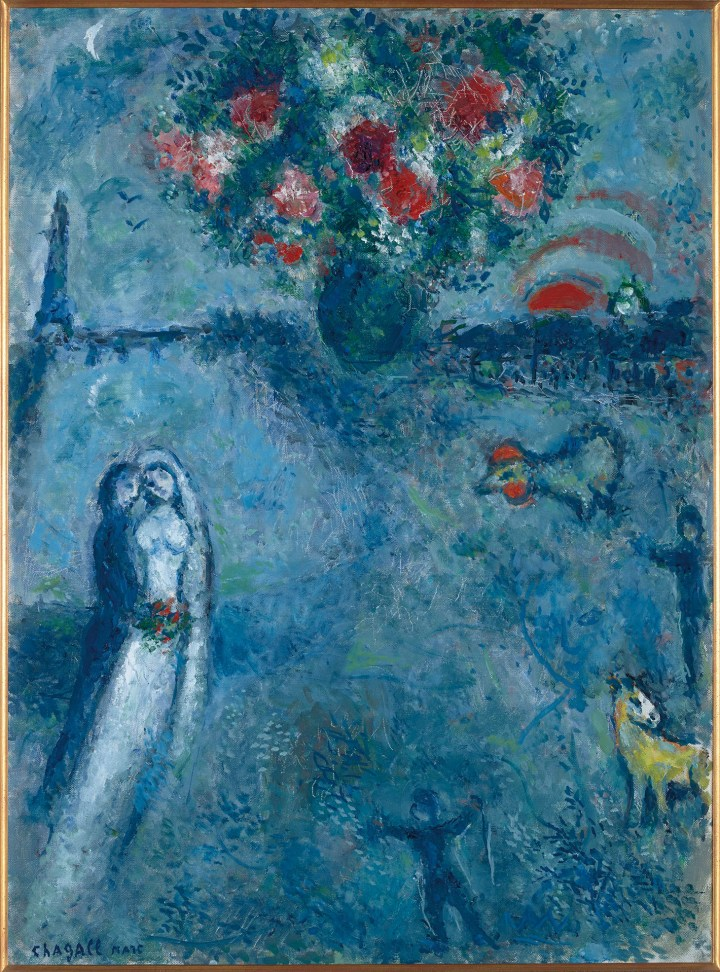 "Marc Chagall ""Les mariés au bord de la Seine"" (c. 1980), tempera and oil on canvas, 28¾ x 21¼ inches (image courtesy Christie's)"