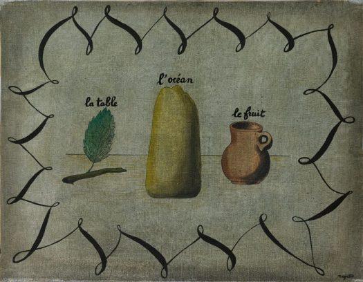 """René Magritte,""""La Table, L'Océan et le Fruit"""" (1927), oil on canvas, 19 5/8 x 25 5/8 inches (image courtesy Sotheby's)"""