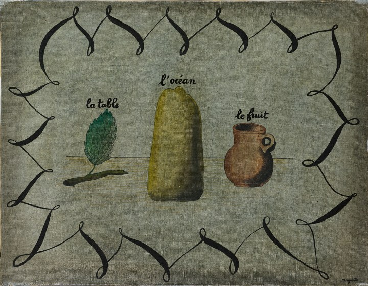 "René Magritte,""La Table, L'Océan et le Fruit"" (1927), oil on canvas, 19 5/8 x 25 5/8 inches (image courtesy Sotheby's)"