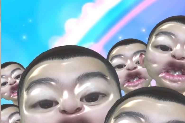 Still from Chaotic Sigh, Ruiqi Zhang, KI MFA Candidacy show, 2018. Mixed media installation: TV monitor, LED sign, Smartphone, TV tripod, Smartphone holder,