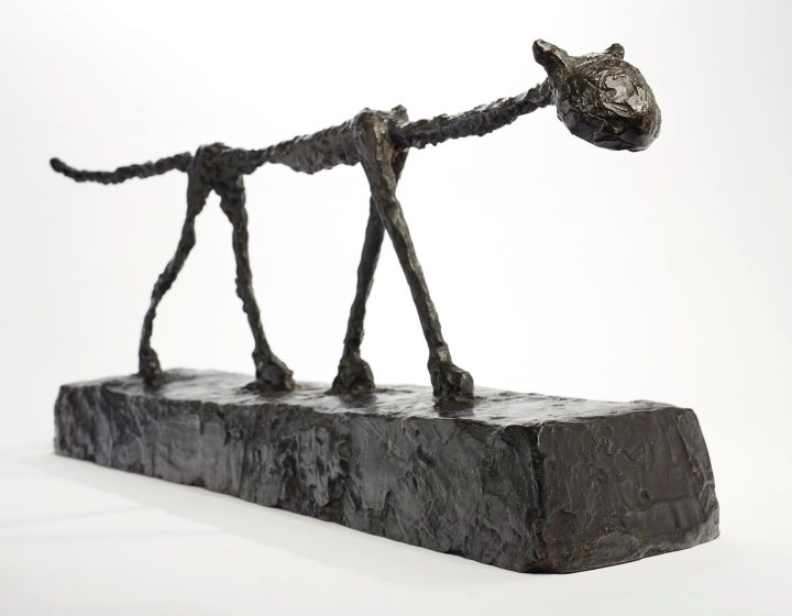 "Alberto Giacometti, ""Le Chat"" (conceived in 1951 and cast in 1955), bronze with dark brown patina, length: 32 1/8 inches (image courtesy Christie's)"