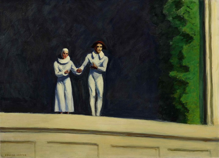 """Edward Hopper, """"Two Comedians"""" (1966), oil on canvas, 29 x 40 inches (image courtesy Sotheby's)"""