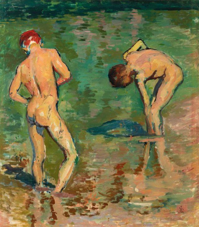 "Giovani Giacometti, ""Bagnanti (Alberto and Diego)"" (1919), oil on canvas, 41 1/16 x 37 13/16 inches (image courtesy the Barrett Collection)"