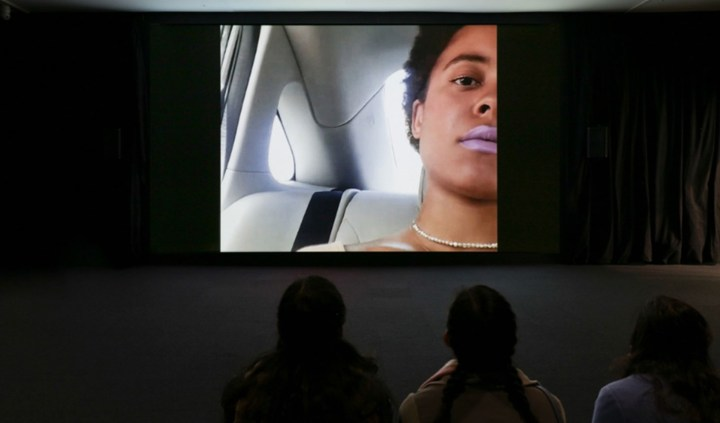 """Installation view of Arthur Jafa, """"Love is the Message, The Message is Death"""" (2016) in The Message: New Media Works at the Hirshhorn Museum and Sculpture Garden, 2017 (image courtesy Arthur Jafa and Gavin Brown's enterprise, New York/ Rome, photo by Cathy Carver)"""
