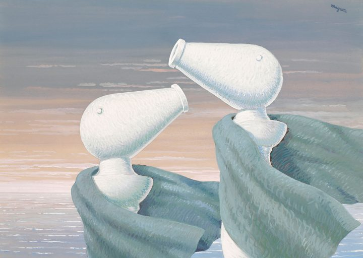 "René Magritte, ""Le colloque sentimental"" (1946), gouache on paper, 14 x 19 5/8 inches (image courtesy Christie's)"
