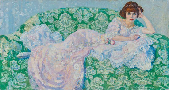 """Hermenegildo Anglada-Camarasa, """"La gata rosa,"""" 40 7/8 x 74 7/8 inches (image courtesy Christie's)"""
