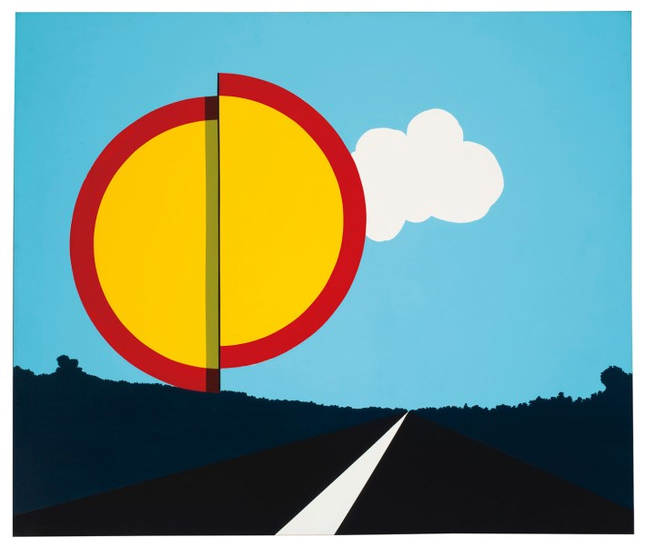 "Allan D'Arcangelo, ""American Landscape"" (1967), acrylic on canvas 56 x 66 inches (image courtesy Christie's)"