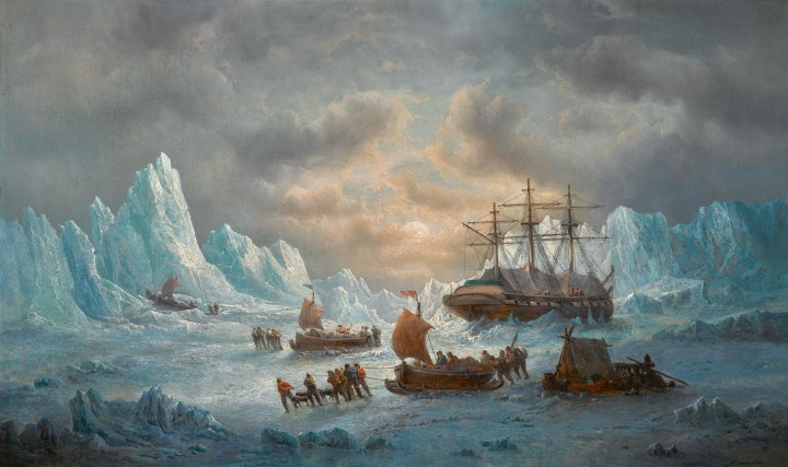 "François Etienne Musin, ""HMS Resolute in Search of Sir John Franklin"" (1850), oil on canvas, 30 3/4 x 50 1/4 inches (image courtesy Sotheby's)"