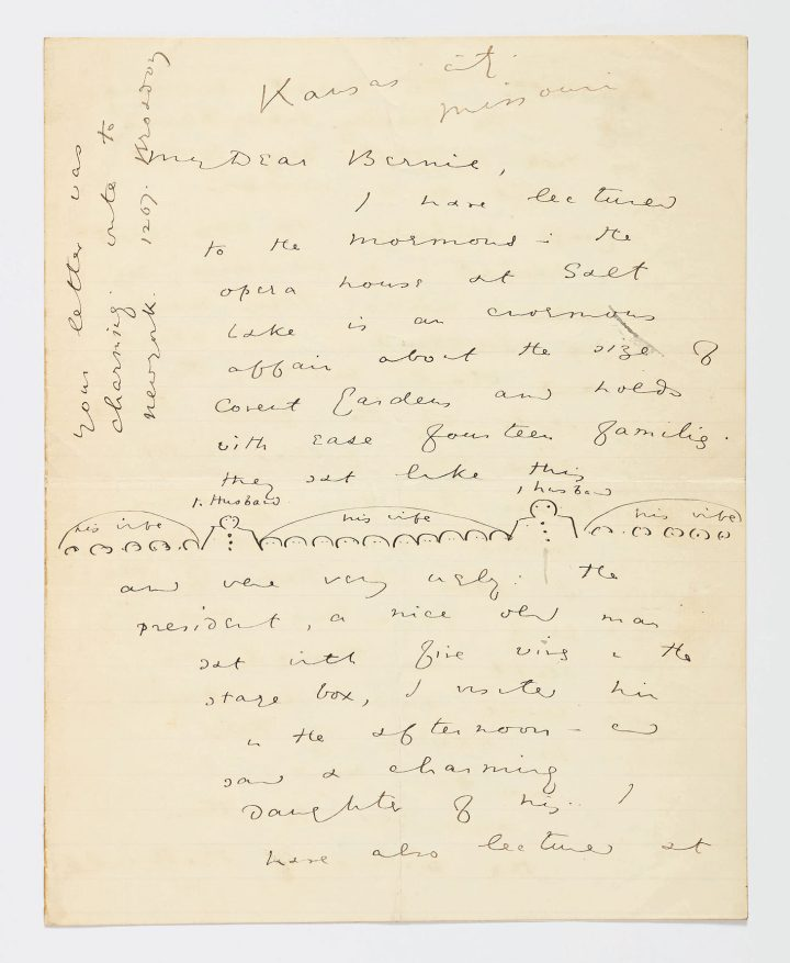 """Autograph letter signed """"Oscar Wilde,"""" eight pages on two bifolia of different sizes (the smaller one, 9 7/8 x 7 7/8 inches, the larger one, 10 5/8 x 8 5/8 inches), with ink sketch on the first page (image courtesy Sotheby's)"""