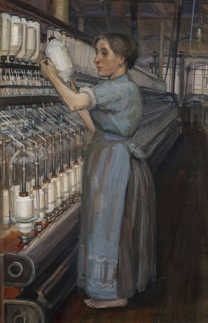 "Sylvia Pankhurst, ""In a Glasgow Cotton Spinning Mill: Changing the Bobbin"" (1907) (image courtesy the Tate)"