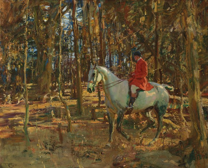 """Sir Alfred James Munnings, """"The whip, Trevelloe Wood, Cornwall,"""" 40 x 50 inches (image courtesy Christie's)"""