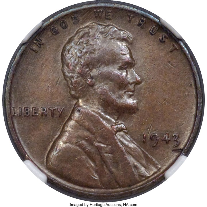 1943 Bronze Lincoln Cent (image courtesy Heritage Auctions, HA.com)