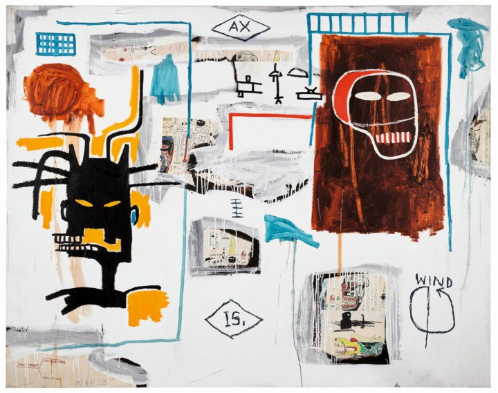 """Jean-Michel Basquiat, """"Apex"""" (1986), acrylic, oil stick, and Xerox collage on canvas, 67.9 x 86 inches (image courtesy Sotheby's)"""