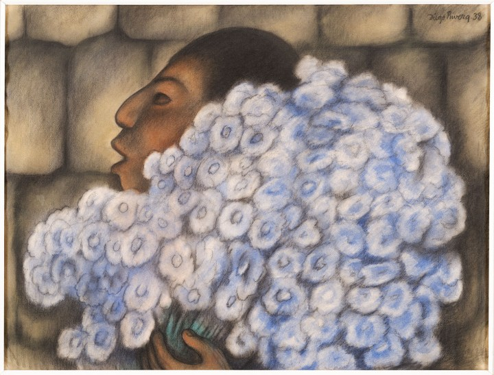 "Diego Rivera, ""The Flowerseller"" (1938), pastel on paper, 18 3/4 × 24 3/4 inches (image courtesy Dallas Museum of Art)"