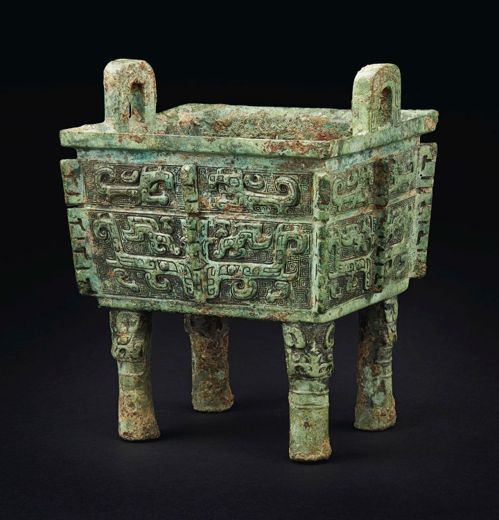 The Shao Fangding rare and important bronze rectangular ritual food vessel, late Shang Dynasty, Anyang, 11th century BCE (image courtesy Christie's)