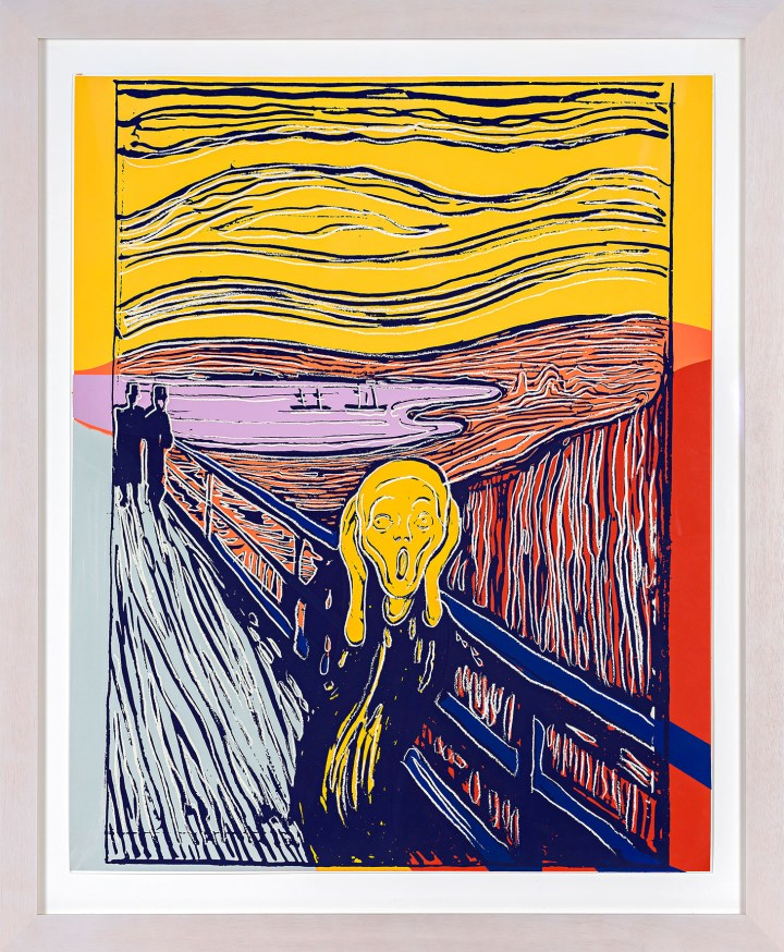 "Andy Warhol, ""The Scream (After Munch) (F. & S. IIIA.58)"" (1984), screenprint, framed sheet: 39 3/4 x 32 inches (image courtesy Sotheby's)"
