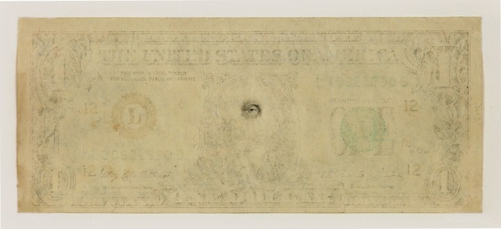 "Mel Chin, ""The Eye of the Beholder,"" 1 dollar denomination (image courtesy the artist)"