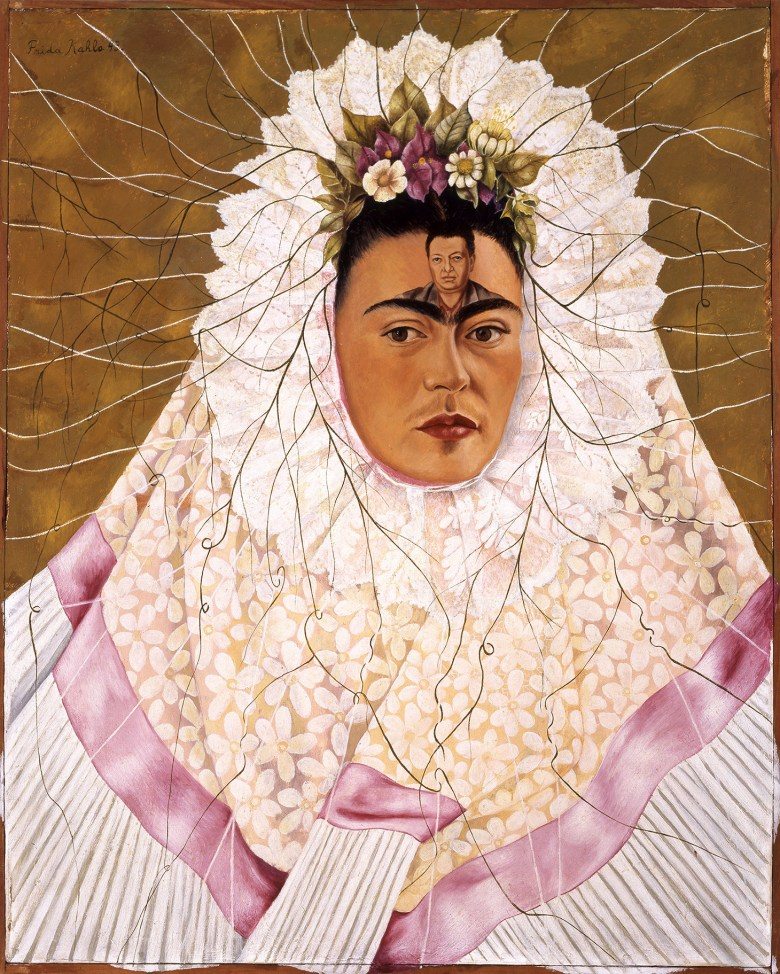 """Frida Kahlo, """"Self-Portrait as a Tehuana"""" (1943), oil on hardboard, 30 x 24 inches (The Jacques and Natasha Gelman Collection of 20th Century Mexican Art and the Vergel Foundation, © 2019 Banco de México Diego Rivera Frida Kahlo Museums Trust, Mexico, D.F. / Artists Rights Society (ARS), New York)"""