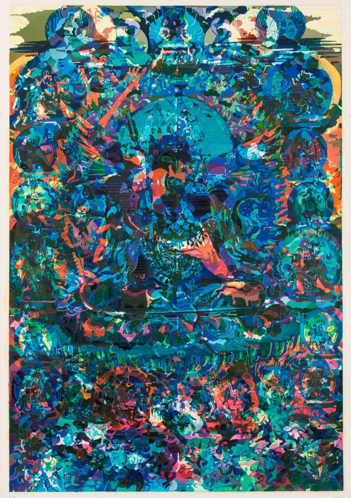 """Zheng Guogu, """"Visionary Transformation of the Purification"""" (2011–2013), oil on canvas, 79 15/16 × 54 5/16 inches (image courtesy the artist)"""