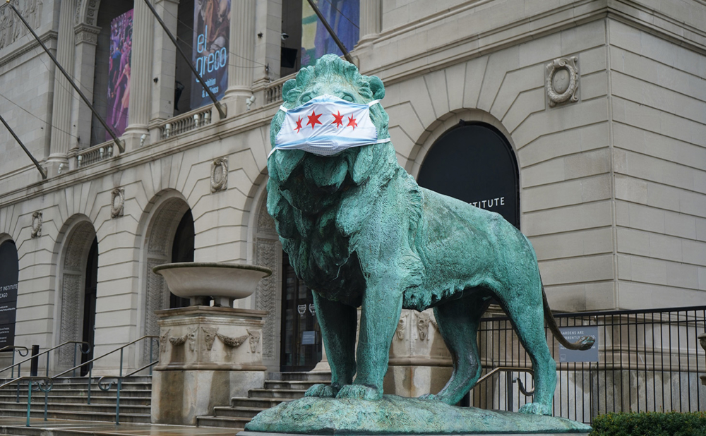 Lion Statues at Art Institute of Chicago Get Face Masks ...