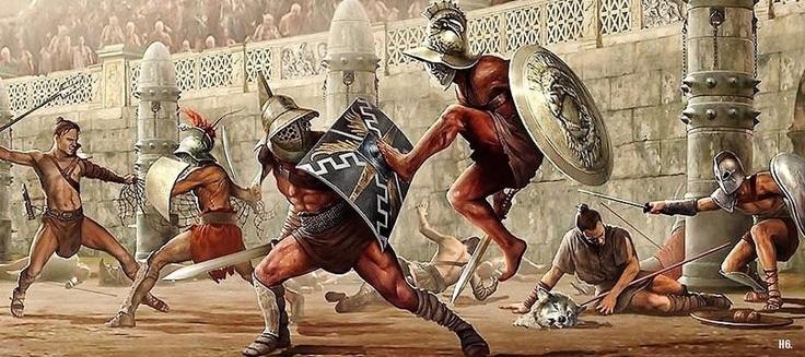I combattimenti tra gladiatori nell'impero romano