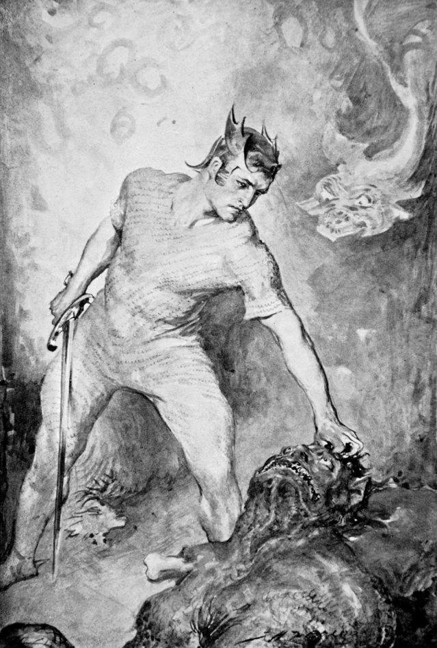 Beowulf-Grendel-head-illustration-British-Race-Legends-1910