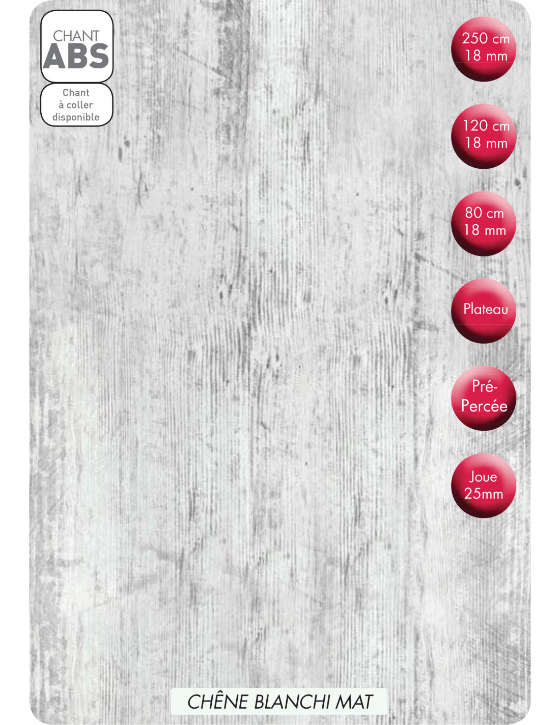 supbois tablette melaminee chene blanchi mat 250 x 40 cm ep 18 mm
