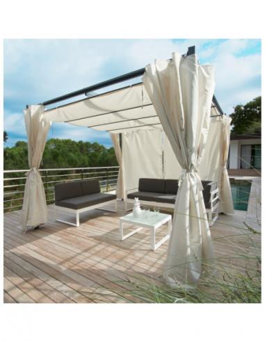 diffusion tonnelle carree rome avec toit retractable et rideaux ecru 9 m dim l 3 x l 3 x h 2 2 m metal et polyester