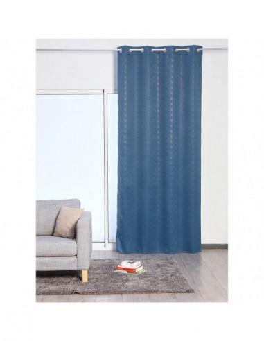 diffusion rideau occultant 8 œillets bleu petrole brillant polyester 135 x 260 cm